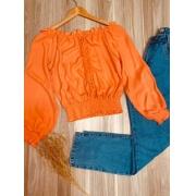 Blusa Ciganinha Cropped com Guipir Laranja