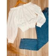 Blusa Ciganinha Cropped com Guipir White