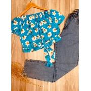 Blusa Ciganinha Cropped de Amarrar Mariah Flores Azul Claro