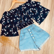 Blusa Ciganinha Cropped Dupla Manga Babado Sofia Floral Azul