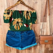 Blusa Ciganinha Dupla Manga Tatiana Floral Verde