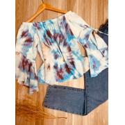 Blusa Ciganinha Manga 3|4 Lacinho Alice Tie Dye Azul Claro