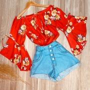 Blusa Ciganinha Manga 3 4 Lacinho Monalisa Flores Vermelho