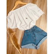 Blusa Ciganinha Manga com Lacinho Branco