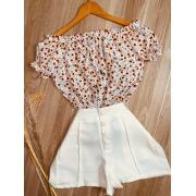 Blusa Ciganinha Manga Curta Florzinha Branca