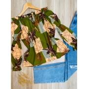 Blusa Ciganinha Manga Longa com Elástico Folhagem Verde