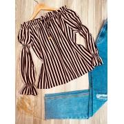 Blusa Ciganinha Manga Longa com Elástico Listras Rosê
