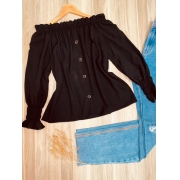 Blusa Ciganinha Manga Longa Fashion Black