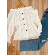 Blusa Ciganinha Manga Longa Fashion White