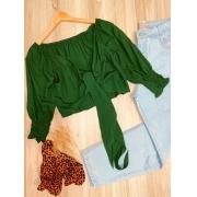 Blusa Cropped Amarrar e Transpassada 3 4 em Lastex Verde