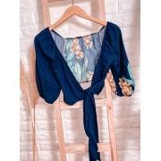 Blusa Cropped Amarrar e Transpassada 3 4 Floral Azul
