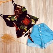 Blusa de Alcinha com Laço de Amarrar Borboletas Ana Azul Escuro