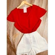 Blusa Delicada Decote V Vermelha