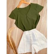 Blusa Manga Curta Fashion Verde Musgo