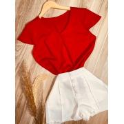 Blusa Manga Curta Fashion Vermelho