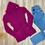 Blusa Maxi Cardigan Tricot Fashion Fúcsia