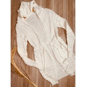 Blusa Maxi Cardigan Tricot Off White