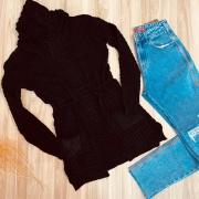 Blusa Maxi Cardigan Tricot Top Black