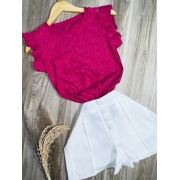 Blusa Regata com Babado Top Pink