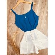 Blusa Top Alcinha Trançada Azul