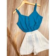 Blusa Top Alcinha Trançada Azul I