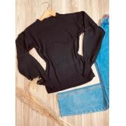 Blusa Tricot com Detalhes em Pipoca Black