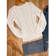 Blusa Tricot com Relevo Ligia Branca