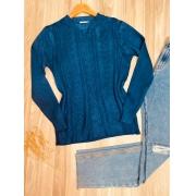 Blusa Tricot Detalhes em Relevo Azul
