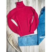Blusa Tricot Gola Alta com Punho Rosa