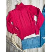 Blusa Tricot Gola Alta Tranças Pink