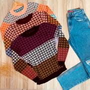 Blusa Tricot Pied Poule Fashion Colors