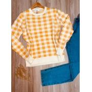 Blusa Tricot Xadrez Amarela