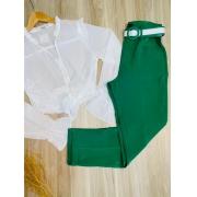 Calça Cós Alto Tecido com Cinto Top Verde