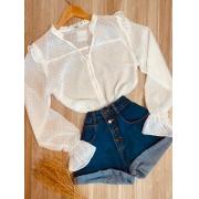 Camisa Chiffon Botões Encapados e Elástico no Punho Branco
