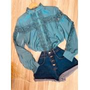 Camisa com Detalhes em Guipir Ligia Azul