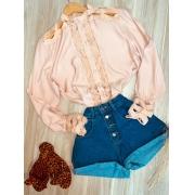 Camisa com Detalhes Vazados Fashion Sarah Rosê