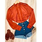 Camisa com Detalhes Vazados Fashion Sarah Terra