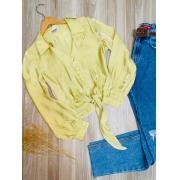 Camisa de Amarrar Cetim Sarah Amarela