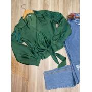 Camisa de Amarrar Cetim Sarah Verde