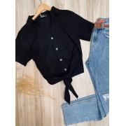 Camisa Linho com Botões de Amarrar Mariah Black