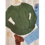 Camisa Manga Longa Decote V com Bolso Falsos Florença Verde