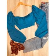 Cropped Manga Longa Bufante de amarrar nas costas Azul
