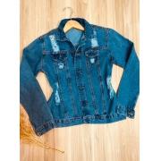Jaqueta Jeans com Botões Encapados Destroyed Azul Claro