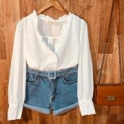 Short Jeans Cintura Alta com Cinto Azul Claro
