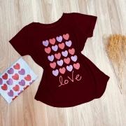 T-shirt Many Hearts Love com Glitter