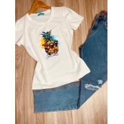 T-shirt Top Abacaxi Sun Beach Cinza Claro