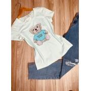T-shirt Top Ursinho Fofo Verde Mint