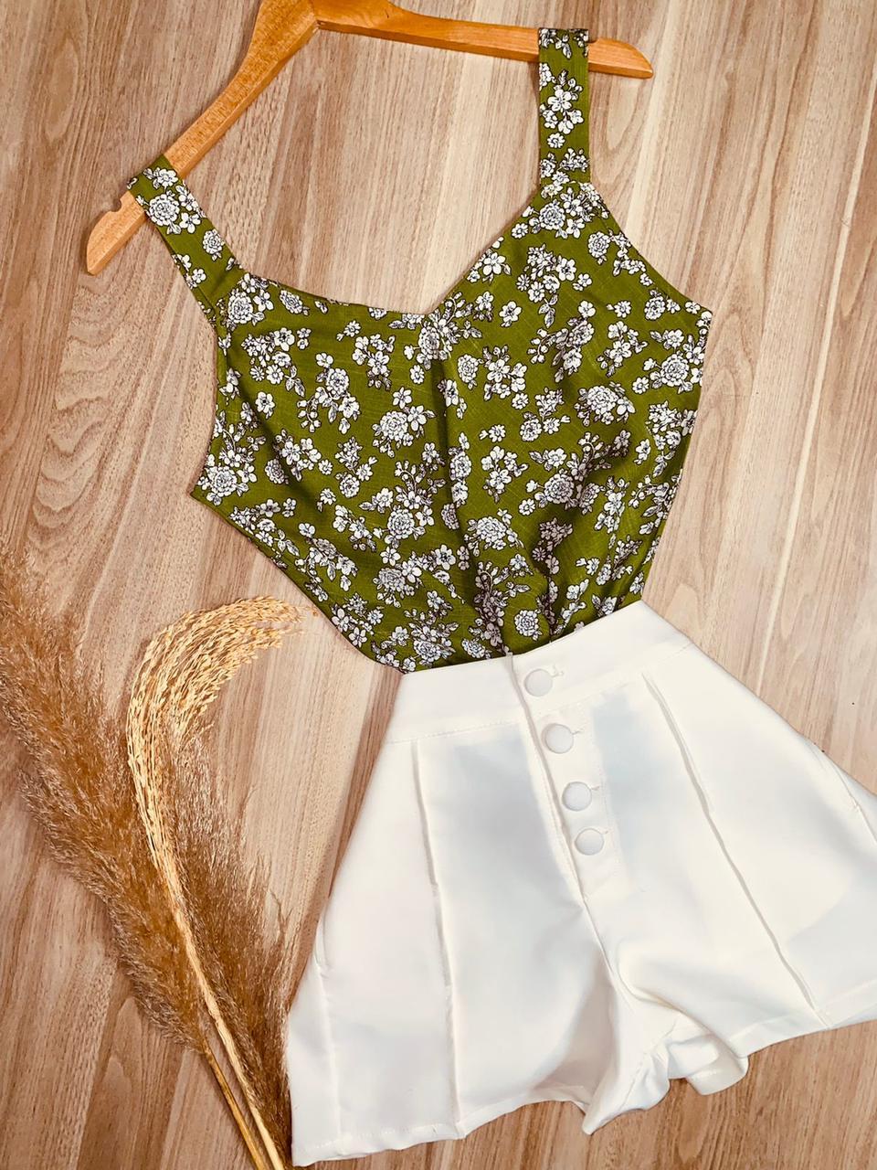 Blusa Alça Decote V Florzinha Verde