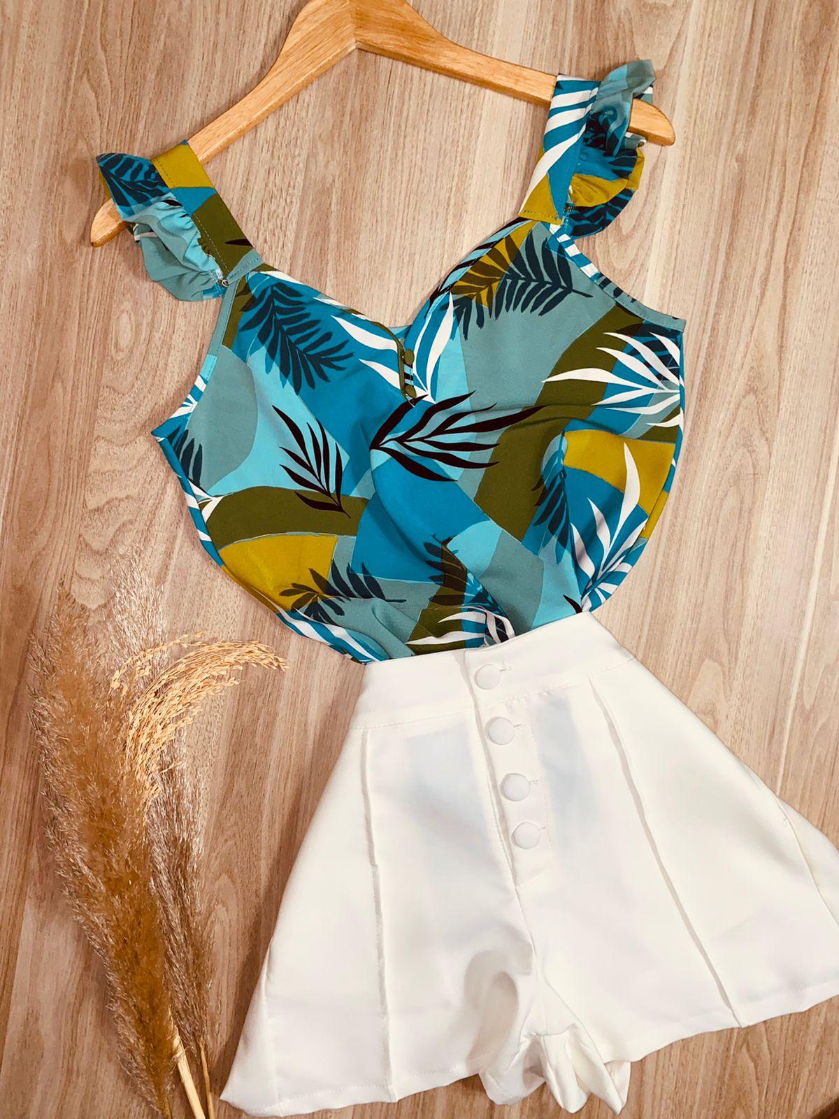 Blusa Alcinha Babadinho Folhas Azul Claro