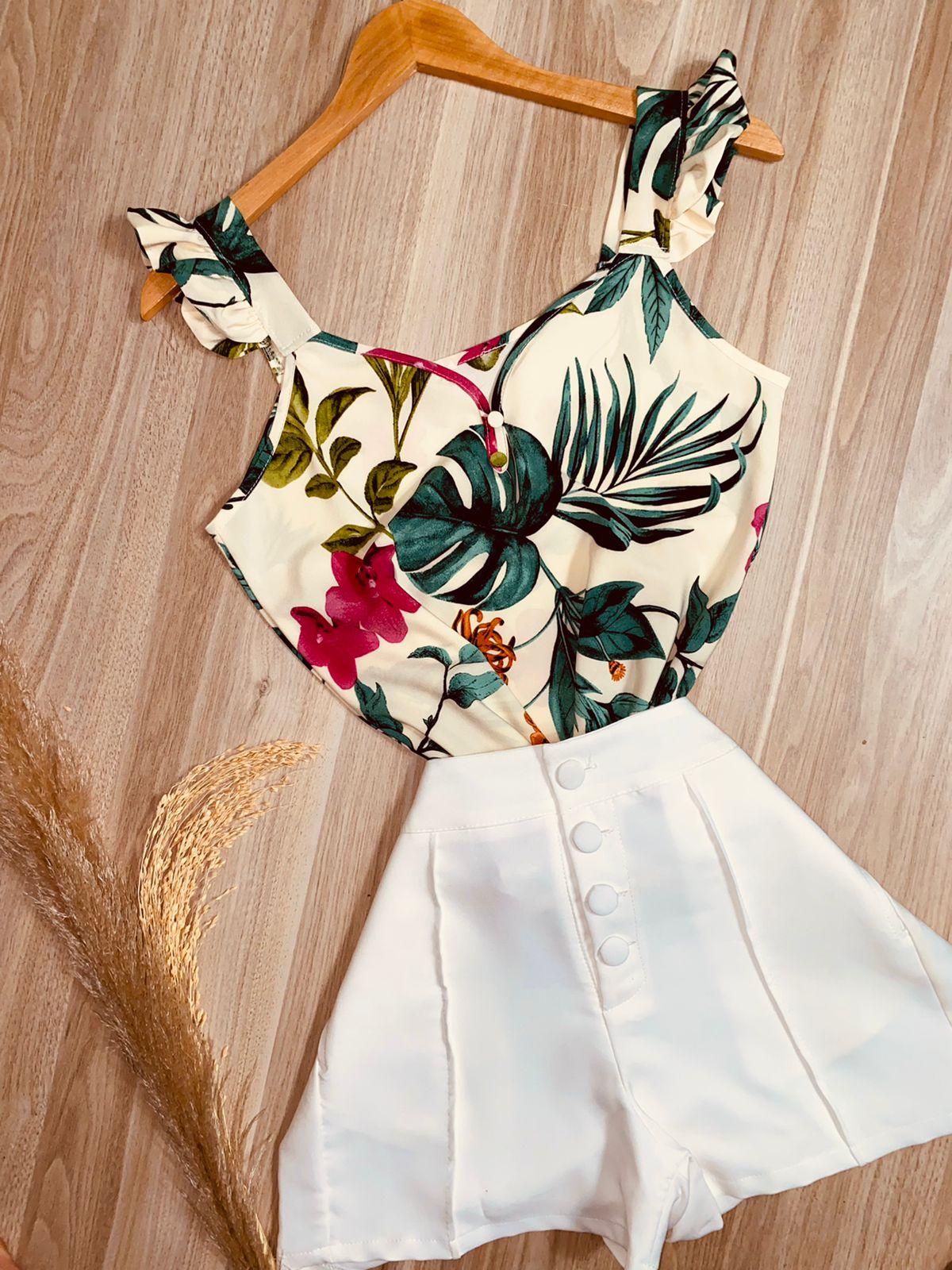 Blusa Alcinha Babadinho Leaf Off White